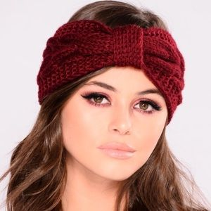 Fashion Nova Big Bow Headband- Burgundy